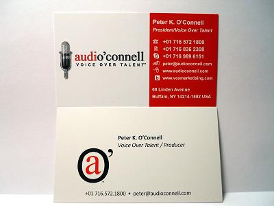 Voxmarketising the audioconnell voice over talent blog and podcast front top card old business card design bottom colourmoves